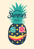 Summer calligraphic retro poster design. Funny character made of fruits. Vector illustration. Summer calligraphic retro poster. Funny character made of fruits Royalty Free Stock Photo