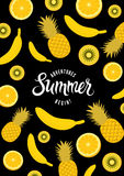 Summer calligraphic retro poster with fruit background. Vector illustration. Eps 10. Stock Image