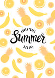 Summer calligraphic retro poster with fruit background. Vector illustration. Eps 10. Royalty Free Stock Images
