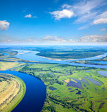 Summer calm day on the plain river Stock Image