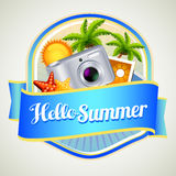 Summer camera badge. With coconut tree in background Royalty Free Stock Photos