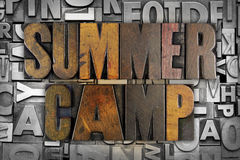 Summer Camp. The words SUMMER CAMP written in vintage letterpress type Royalty Free Stock Image