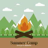 Summer Camp. Abstract summer camp background with some special objects vector illustration