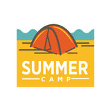 Summer camp advertising logo design. Awning tent realistic vector illustration. Royalty Free Stock Photography