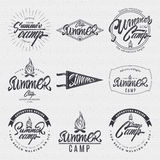 Summer Camp - badge, icon, poster, label, print, stamp, can be used in design and advertising Royalty Free Stock Photos