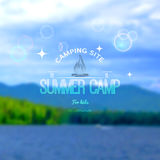Summer camp badges logos and labels for any use. Blurred background forest sky. EPS10 royalty free stock photography