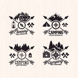 Summer camp badges logos and labels for any use, on wooden background texture Stock Image