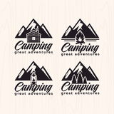 Summer camp badges logos and labels for any use, on wooden background texture Royalty Free Stock Photo