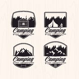 Summer camp badges logos and labels for any use, on wooden background texture Stock Photos