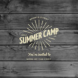Summer camp badges logos and labels for any use. On wooden background texture. EPS10 royalty free stock photography