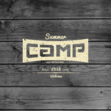 Summer camp badges logos and labels for any use. On wooden background texture. EPS10 stock images