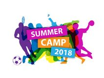 SUMMER CAMP 2018 Banner with sports silhouettes royalty free illustration
