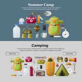 Summer camp banners of vector camping tools. Summer Camp web banners templates for camping scout adventure. Vector first-aid kit and camp tent or matches for Royalty Free Stock Images