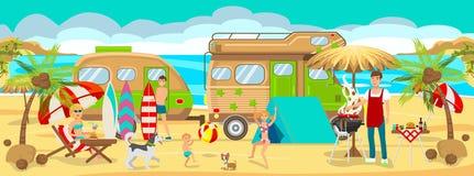 Summer Camp on Beach. Vector Illustration. vector illustration