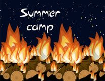 Summer camp bunner template with nature evening landscape and text. vector illustration