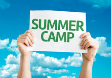 Summer Camp card with sky background royalty free stock photos