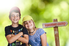 Summer camp. Children in summer camp, holidays stock photography