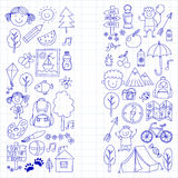 Summer camp Children, kids camping Children plays, hiking, singing, fishing, walking, drawing, having fun After school. Summer camp Children, kids camping Stock Images