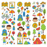 Summer camp Children, kids camping Children plays, hiking, singing, fishing, walking, drawing, having fun After school. Summer camp Children, kids camping Stock Image