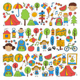 Summer camp Children, kids camping Children plays, hiking, singing, fishing, walking, drawing, having fun After school. Summer camp Children, kids camping Stock Image