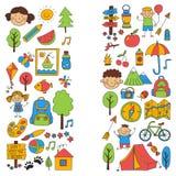 Summer camp Children, kids camping Children plays, hiking, singing, fishing, walking, drawing, having fun After school. Summer camp Children, kids camping Stock Photos