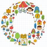 Summer camp Children, kids camping Children plays, hiking, singing, fishing, walking, drawing, having fun After school. Summer camp Children, kids camping Stock Images