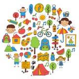 Summer camp Children, kids camping Children plays, hiking, singing, fishing, walking, drawing, having fun After school. Summer camp Children, kids camping Royalty Free Stock Photos