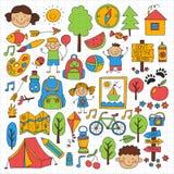 Summer camp Children, kids camping Children plays, hiking, singing, fishing, walking, drawing, having fun After school. Summer camp Children, kids camping Royalty Free Stock Image