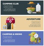 Summer camp club vector camping web banners. Camp club or camping adventure web banners of hiking tools and accessories. Vector flat design of camp tent Royalty Free Stock Images