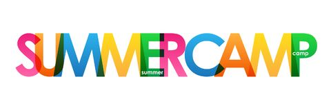 SUMMER CAMP! colorful overlapping letters vector banner stock illustration