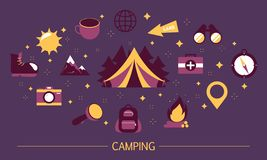 Summer camp concept. Idea of hiking in mountain. With backpack. Travel in nature, expedition or journey. Outdoor activity with campfire. Set of colorful icons royalty free illustration