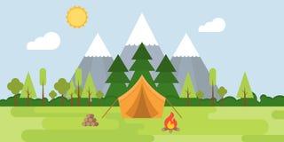 Summer camp concept Landscape, tent , mountain, tree, bonfire. Fire wood and forest, flat design vector illustration