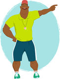 Summer camp counselor. Energetic muscular black male in athletic clothes and with a whistle, vector illustration royalty free illustration