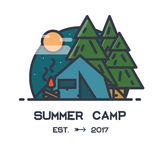 Summer camp. Flat style line logo or emblem. Fir Tree woods, camp tent with campfire. Moon and clouds with stars. Wilderness poster and placard. Night view Royalty Free Stock Photos