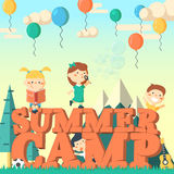Summer camp flier  illustration.Fun kids playing outdoors. Royalty Free Stock Image