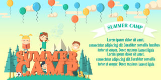 Summer camp flier illustration. Fun kids playing outdoors.Summer camp banner with mountains, children, trees, balloons and bobbles made in isometric design vector illustration