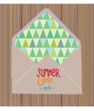 Summer camp flyer or invitation with woods. And envelope - graphic illustration stock illustration