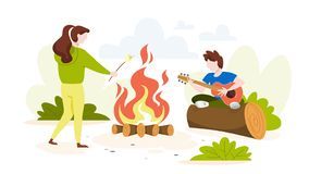 Summer camp in the forest. Touris at the campfire. Play guitar and relax. Outdoor activity on vacation. Vector illustration in cartoon style stock illustration