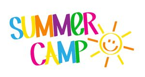 SUMMER CAMP graffiti tag. SUMMER CAMP graffiti-style banner in bright colors with sun icon. Vector vector illustration