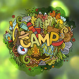 Summer camp hand lettering and doodles elements background Stock Photo