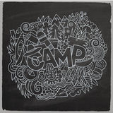 Summer camp hand lettering and doodles elements Royalty Free Stock Photos
