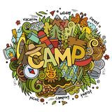 Summer camp hand lettering and doodles elements Stock Photos