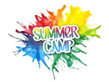 SUMMER CAMP hand-written graffiti-style letters on watercolor paint splashes royalty free illustration