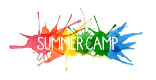 SUMMER CAMP hand-written letters on watercolor paint splashes royalty free illustration