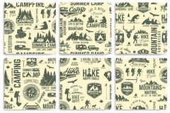 Summer camp and Hiking seamless pattern or background. vector illustration