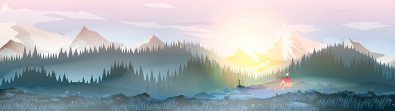 Summer Camp House with Mountain Lake Panorama - Vector Illustration vector illustration