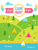 Summer Camp Hunt, Quest and Outdoor Activities Vector Poster Royalty Free Stock Photos