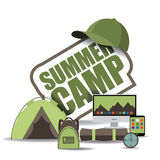 Summer camp icon EPS 10 vector. Summer camp icon with computer, notebook, backpack and tent. EPS 10 vector royalty free stock illustration for ad, promotion royalty free illustration