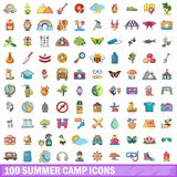 100 summer camp icons set, cartoon style. 100 summer camp icons set. Cartoon illustration of 100 summer camp vector icons isolated on white background Vector Illustration
