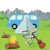 Summer camp. Illustration of a summer camp with a blue campervan, white tent, blazing log fire, axe, chair and guitar, mountain background stock illustration